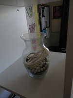 Even my trusty triple-strand pearls have a home:  an old vase!