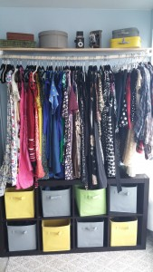 "My DIY ""closet"" - so many dresses!  Almost all black velvet hangers - although we found some beige velvet ones in the free pile once that I couldn't resist!"